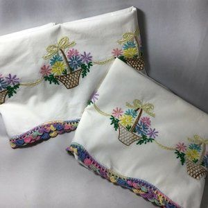 Unfinished Spring Basket Embroidered Pillowcase